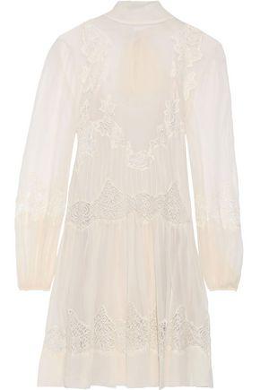 ALBERTA FERRETTI Lace-paneled silk-chiffon mini dress