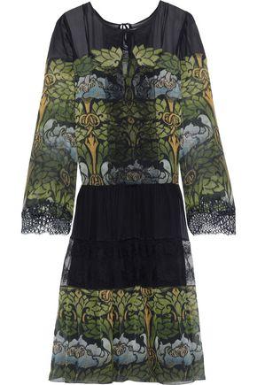 ALBERTA FERRETTI Lace-paneled printed silk-chiffon dress