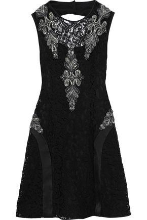 ALBERTA FERRETTI Embellished corded lace-appliquéd cutout satin-crepe mini dress