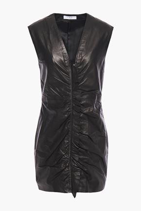IRO Ruffle-trimmed ruched leather mini dress