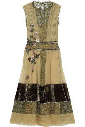 ALBERTA FERRETTI Appliquéd silk-georgette, lace and velvet midi dress