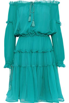 ALBERTA FERRETTI Off-the-shoulder gathered ruffled silk-chiffon dress