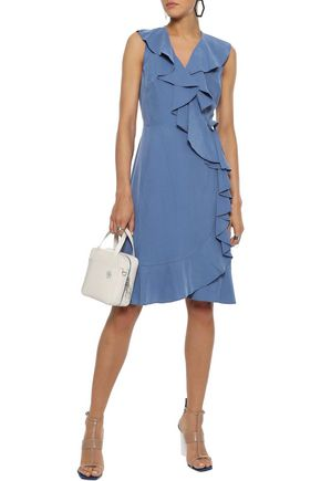 DONNA KARAN Ruffle-trimmed washed modal-blend wrap dress