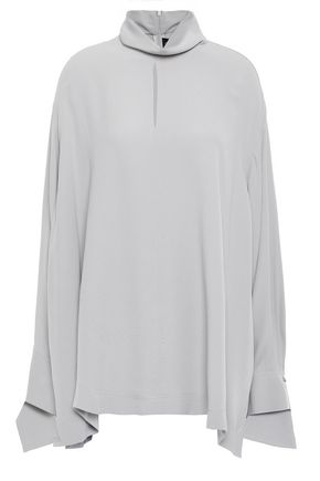 JOSEPH Oversized crepe-satin turtleneck top