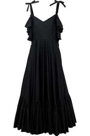 ALBERTA FERRETTI Cold-shoulder pleated cotton-poplin midi dress