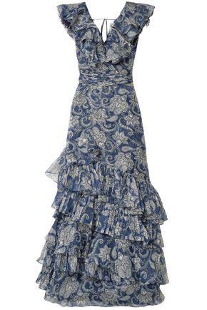 """JOHANNA ORTIZ فستان طويل """"ذي سي نيمف"""" من الأورغنزا الحريري مطبع برسومات مع كشكش"""