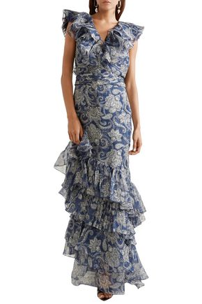 JOHANNA ORTIZ The Sea Nymph ruffled printed silk-organza maxi dress