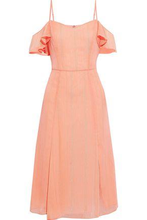 HALSTON HERITAGE Cold-shoulder metallic georgette dress