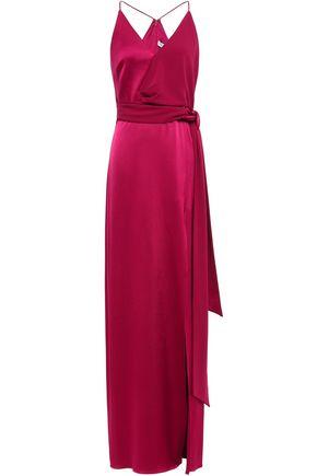 HALSTON HERITAGE Wrap-effect crepe-paneled satin gown