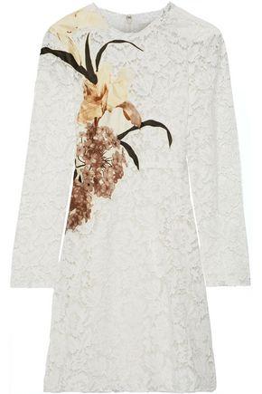 VALENTINO Appliquéd cotton-blend corded lace mini dress