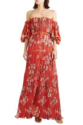 JOHANNA ORTIZ Viajes Del Alma off-the-shoulder printed plissé-georgette maxi dress
