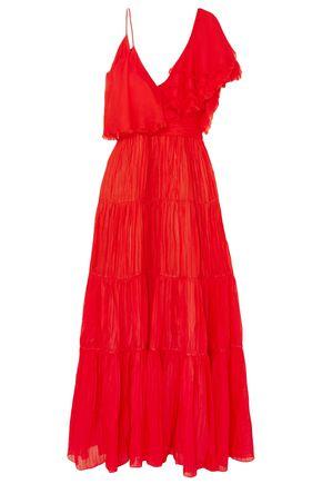 JOHANNA ORTIZ Noche De Rosas asymmetric ruffled silk maxi dress