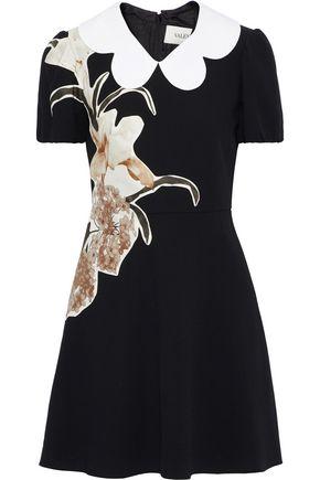 VALENTINO Floral-appliquéd wool-crepe mini dress