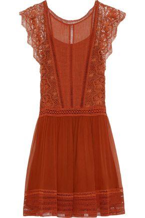 ALBERTA FERRETTI Gauze, guipure lace and georgette dress