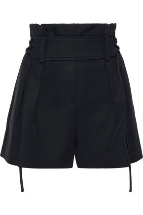 IRO Lalora belted pleated cady shorts