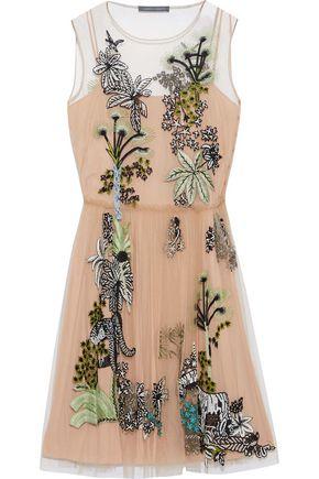 ALBERTA FERRETTI Embellished pleated tulle mini dress