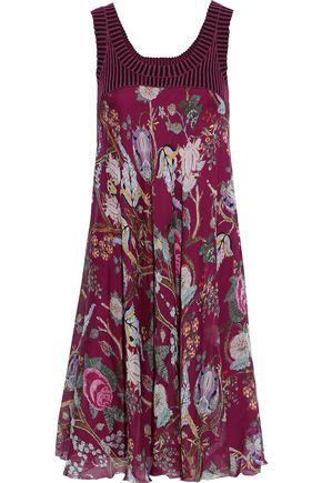 ALBERTA FERRETTI Striped ribbed knit-paneled floral-print silk-chiffon dress