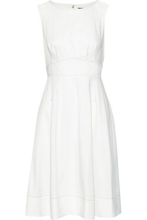 DONNA KARAN Flared cotton-blend poplin dress