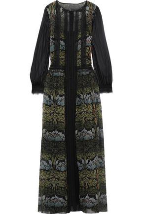 ALBERTA FERRETTI Lace-trimmed floral-print silk-chiffon maxi dress