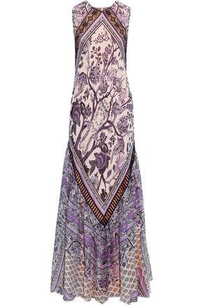 ALBERTA FERRETTI Crochet-trimmed printed silk-chiffon maxi dress