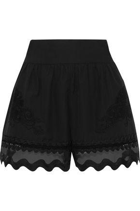 ALBERTA FERRETTI Scalloped organza-paneled appliquéd cotton shorts