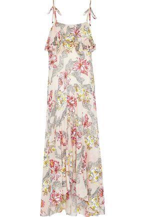 PHILOSOPHY di LORENZO SERAFINI Ruffled floral-print cotton and silk-blend maxi slip dress