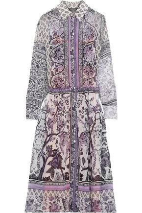 ALBERTA FERRETTI Ruffle-trimmed printed silk-chiffon midi shirt dress