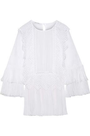 ALBERTA FERRETTI Lace-trimmed pleated chiffon-paneled cotton-gauze top