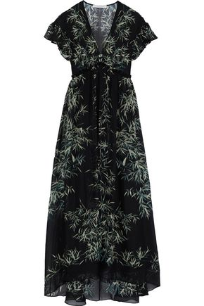 PHILOSOPHY di LORENZO SERAFINI Ruffle-trimmed printed silk-chiffon maxi dress