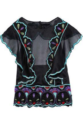 ALBERTA FERRETTI Ruffled embellished silk-organza halterneck top