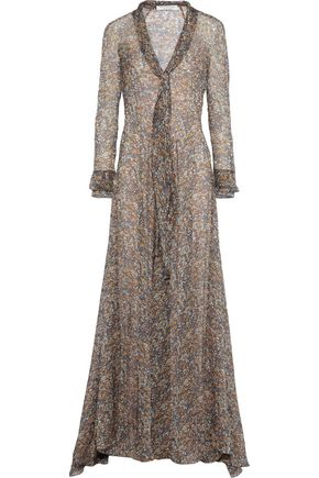 PHILOSOPHY di LORENZO SERAFINI Tie-neck floral-print silk-chiffon gown