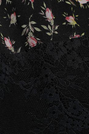 PHILOSOPHY di LORENZO SERAFINI Paneled Chantilly lace and floral-print silk-chiffon maxi dress