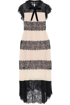 PHILOSOPHY di LORENZO SERAFINI Paneled Chantilly lace and silk crepe de chine midi dress