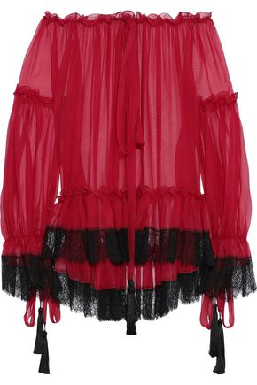 ALBERTA FERRETTI Off-the-shoulder lace-trimmed gathered silk-chiffon blouse
