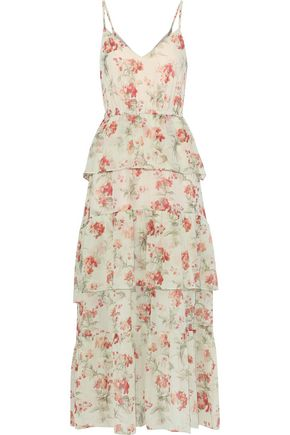 PHILOSOPHY di LORENZO SERAFINI Tiered floral-print silk-gauze maxi dress