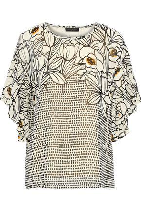 DONNA KARAN Draped printed chiffon blouse