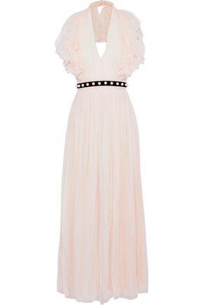 PHILOSOPHY di LORENZO SERAFINI Embellished pleated silk-chiffon halterneck gown