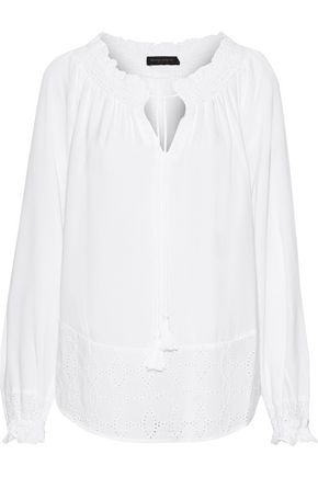 DONNA KARAN Shirred broderie anglaise voile blouse