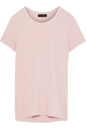DONNA KARAN Satin-trimmed stretch-jersey T-shirt