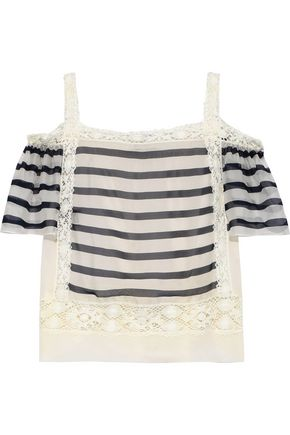 ALBERTA FERRETTI Cold-shoulder crochet-trimmed striped silk-organza top