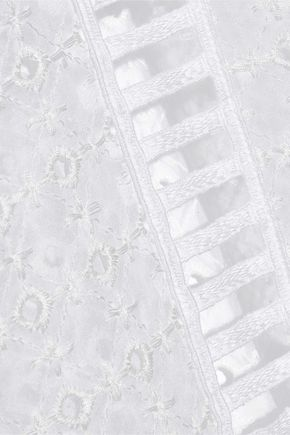 ALBERTA FERRETTI Lace-trimmed broderie anglaise and cotton-gauze blouse