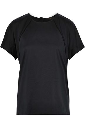 DONNA KARAN Pointelle-trimmed cotton-blend T-shirt