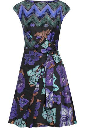 ALBERTA FERRETTI Knotted printed cotton-poplin mini dress