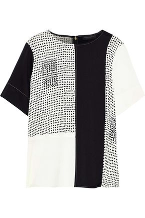 DONNA KARAN Crystal-embellished printed stretch-silk T-shirt