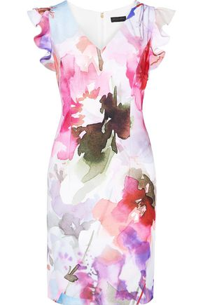 DONNA KARAN Ruffle-trimmed printed stretch-crepe dress