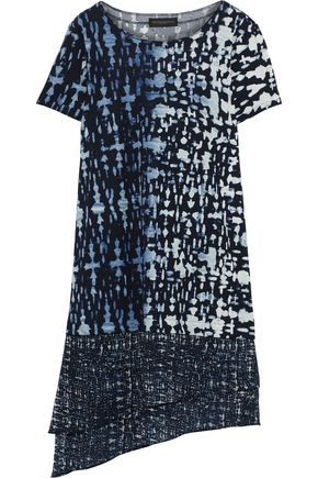 DONNA KARAN Asymmetric printed chiffon-paneled jersey dress