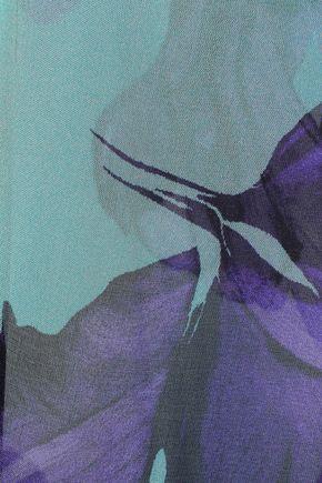 ALBERTA FERRETTI Lace-trimmed appliquéd printed silk-chiffon top
