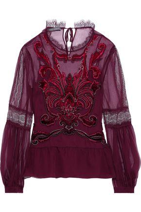 ALBERTA FERRETTI Lace-trimmed embellished silk-chiffon top