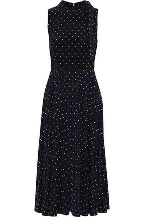 DONNA KARAN Bow-detailed polka-dot stretch-jersey midi dress