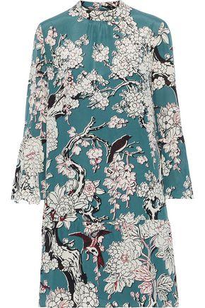 VALENTINO Appliquéd floral-print silk-blend crepe de chine dress